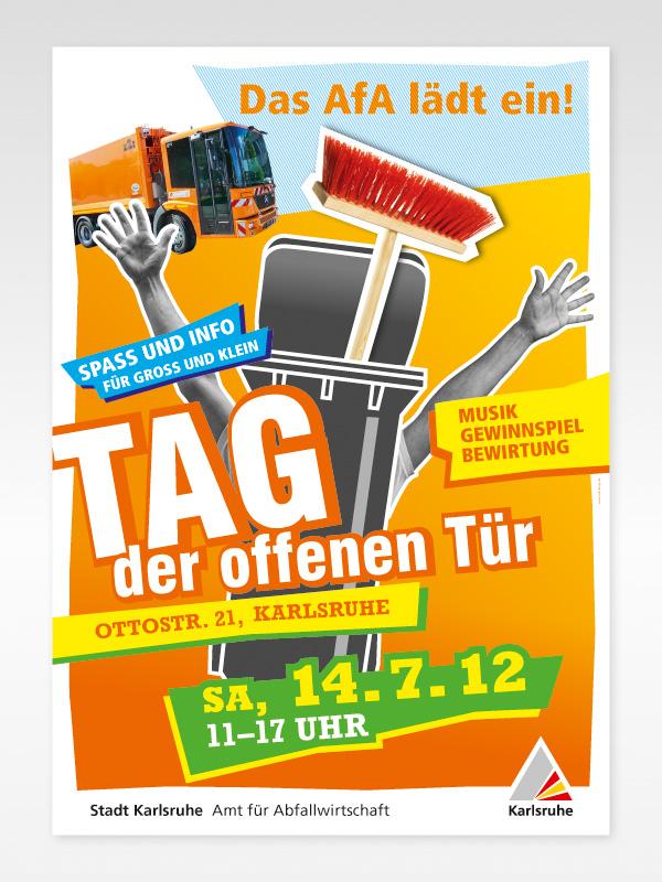 Tag der offenen tür plakat design  HOB-DESIGN - Stadt Karlsruhe - Amt für Abfallwirtschaft